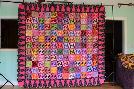 "Custom Made Megan's Swirl In Pink - 92"" X 99"" - Queen"