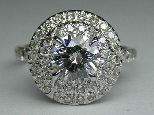 Custom Made Round Diamond Cathedral Double Halo Soleste Engagement Ring With Accents On The Band Es856