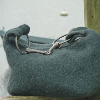 Custom Made Forest Green Felted Wool Hobo With Iron Broken Bit Handle