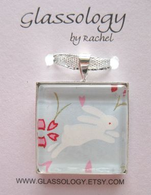 Custom Made Glass Tile Pendant With Rabbit Design On Silver Snake Chain Necklace