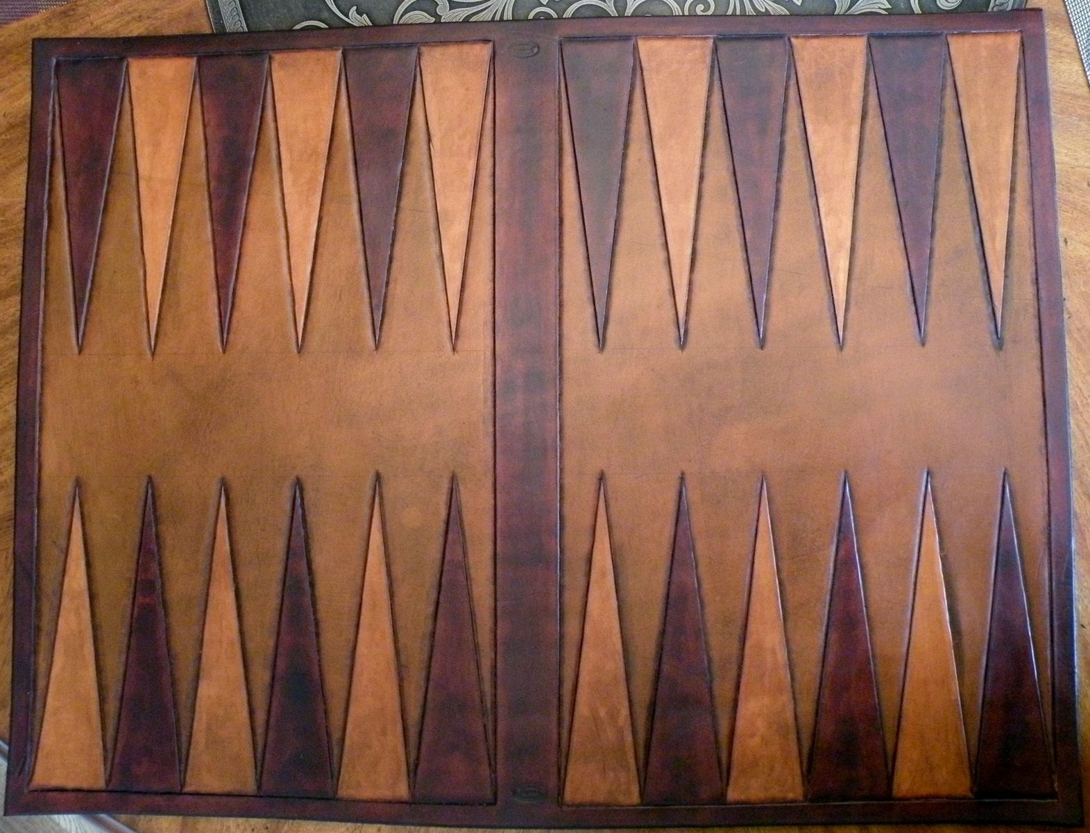 Custom Backgammon Leather Inset By Rics Leather