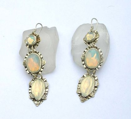 Custom Made White Glass Opal Statement Earrings, Vintage Opaline Glass Earrings, Crystal Bridal Dangle Earrings