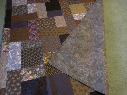 Custom Made Browns, Purples Twin Size Turning Twenty Quilt