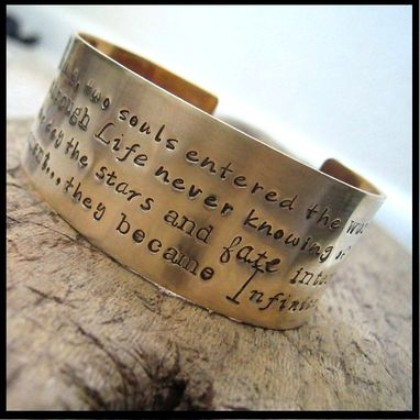 Custom Made Wide Brass Hand Stamped Poetry Cuff Bracelet