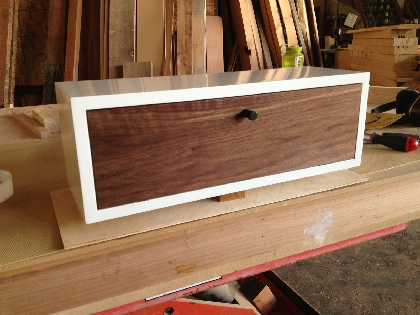 Custom Made Small Floating Bathroom Shelf Cabinet by SAWN Custom