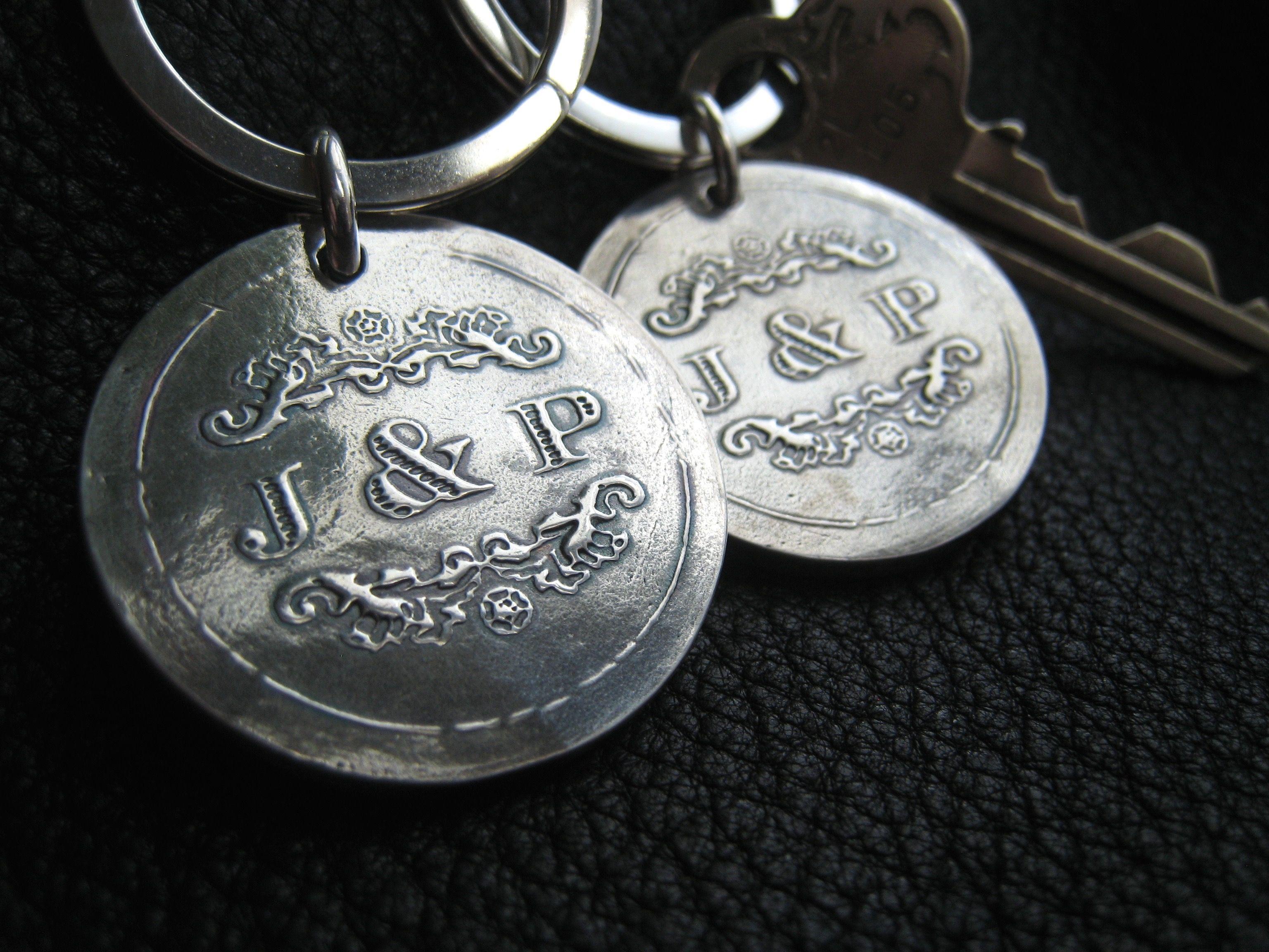 Sterling Silver Key Chain Key Ring Key Fob With Wedding Logo - 1 1 8 af11fab27