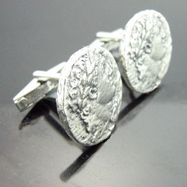 Custom Made Silver Alexander The Great Coin Replica Cufflinks