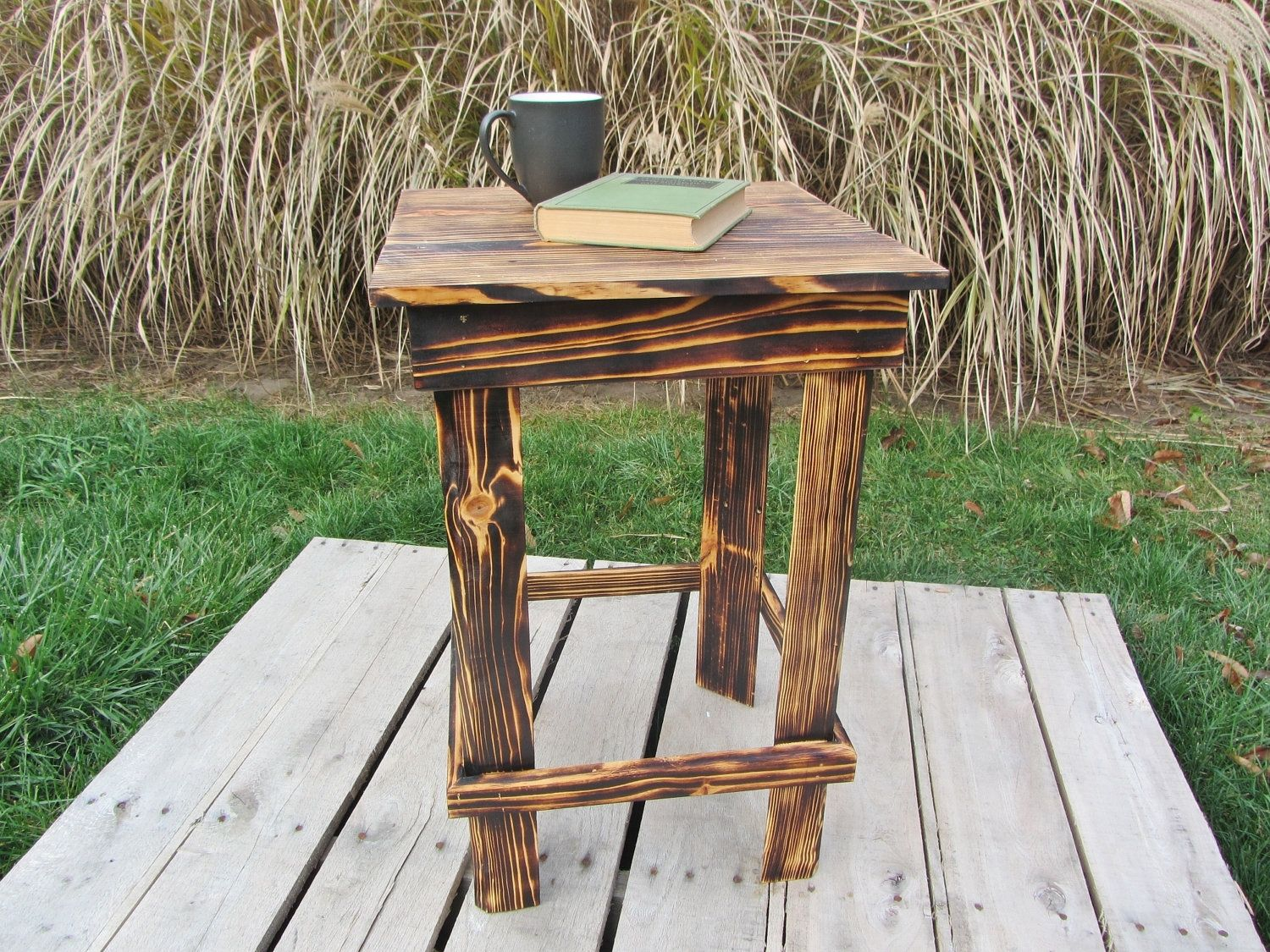 Handmade nightstand side table made from reclaimed pallet for Pallet end table