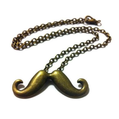Custom Made Bronze Moustache Necklace