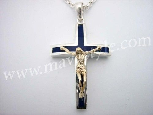 Custom Made Sterling Silver Blue Cross Gold Jesus Christ