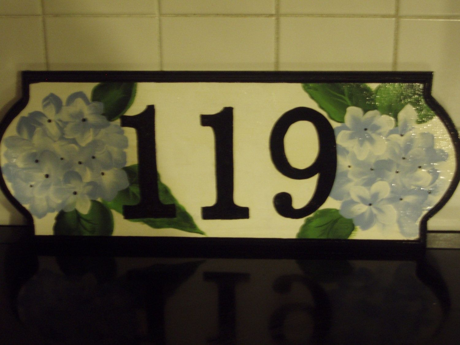 Custom made hand painted house number sign or address sign