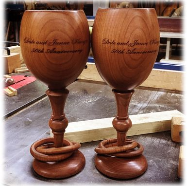 Custom Made Toasting Glasses In Cherry For A 50th Year Anniversary)