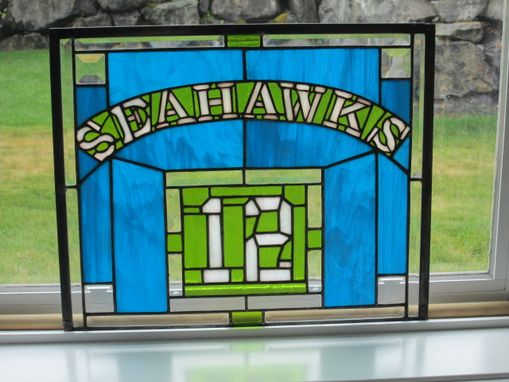 Custom Made Stained Glass Seattle Seahawks Panel