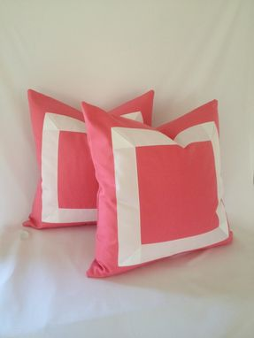 Custom Made Pink Cotton With White Ribbon Pillow Cover