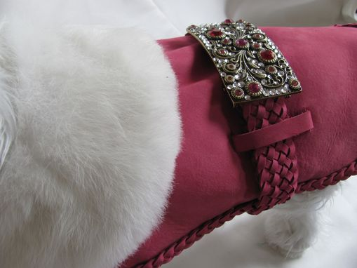 Custom Made Swarovski Bling Buckled Hot Pink Suede Dog Clothes With Fur Collar