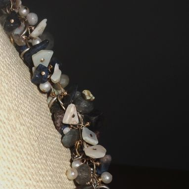 Custom Made Dumorite, Opal, Cultured Pearl Cluster Necklace