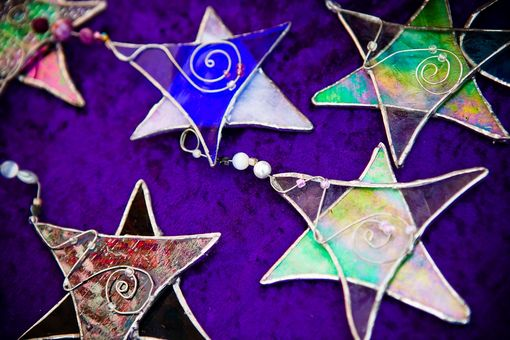 Custom Made Stained Glass Stars With Beads