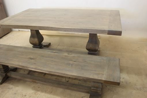 Custom Made Gray Wash Trestle Table W/Extensions. Available In Cerused Oak Or Limed Oak