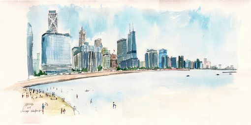 Custom Made City Skyline Watercolor Painting