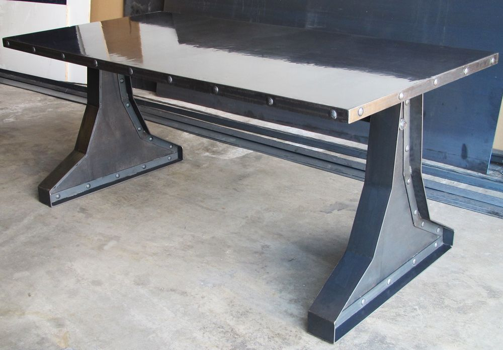 Custom Made Concrete Top Steel Rivets Design Vintage Desk Conference Table