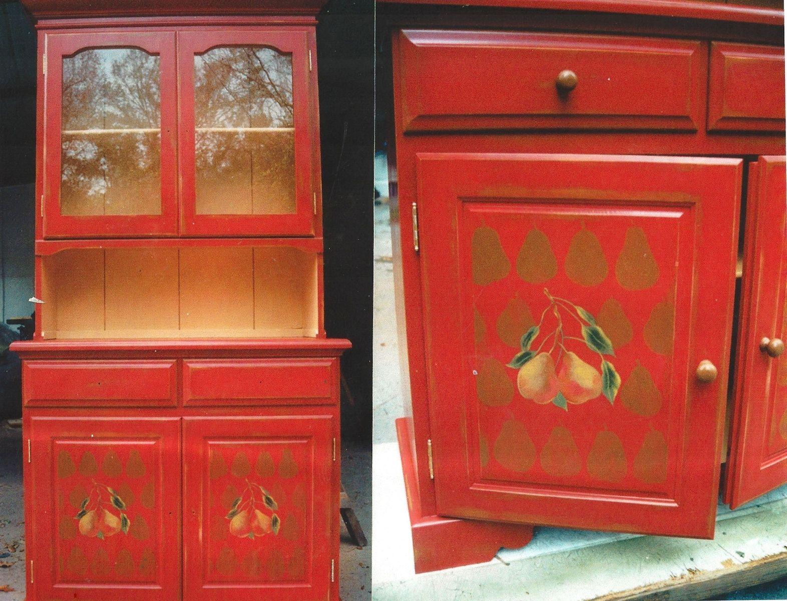 Magnificent Hand Made Red Kitchen Hutch By Schmidt Mandell Studio Download Free Architecture Designs Jebrpmadebymaigaardcom