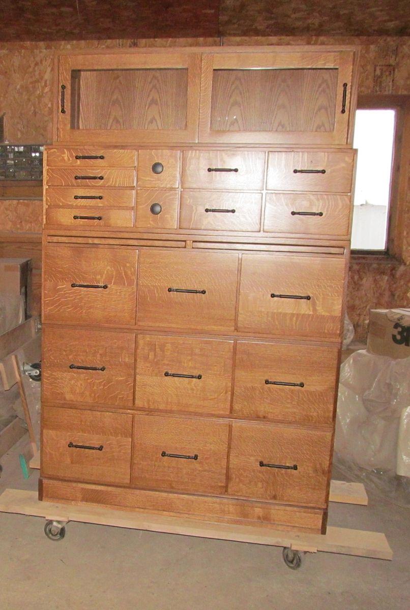 Custom Made File Cabinet Bookcase Organizer Quarter Sawed Oak