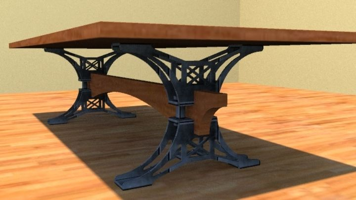 Custom Made Steel Trestle Conference Table By Puddle Town - Wood and metal conference table