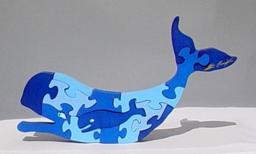 Custom Made Wood Whale Puzzle Sculpture