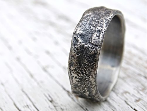 molten silver ring richly structured unique mens ring alternative wedding band silver - Mens Silver Wedding Rings