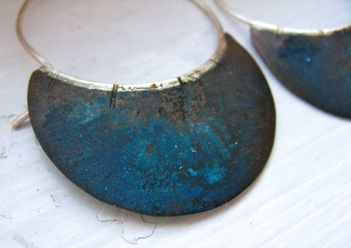 Custom Made Copper And Silver Verdigris Domed Hoops