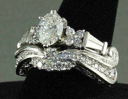 Handmade Platinum Diamond Ornate Bridal Set By Ni Designs