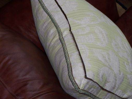 Custom Made Pillow,With Greeng And Brown Cord.Mint Fabric.
