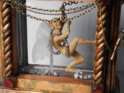 Custom Made Sculpted Captured Tooth Faerie In A Glass Box