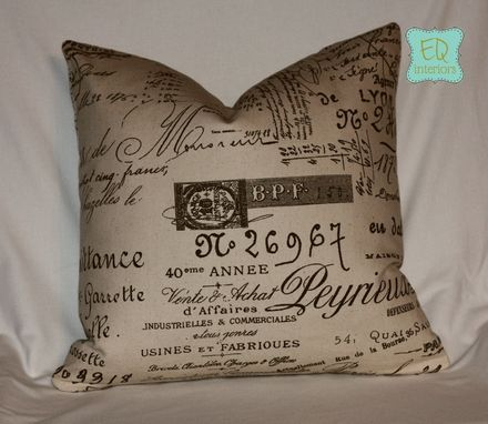Custom Made 18 Inch Designer Penmanship Document Writing Script French Pillow Cover 20 Inch Zipper