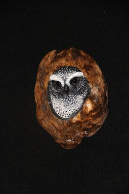 Custom Made Hand Carved And Painted Owls In Oak