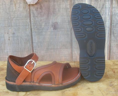 Custom Made April In Her Buffalo Hide Leather Strap Sandals With Vibram Gumlite Rubber Soles