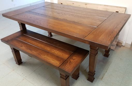 Custom Made Solid Oak Farmhouse Table And Bench