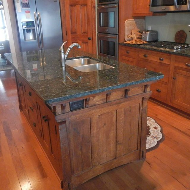 Handmade Arts And Crafts Style Kitchen Island By Paul S Green Barn Traditional Built Wood Furniture Custommade
