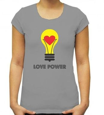 Custom Made Light Bulb Tshirt Print- Grey Tshirt