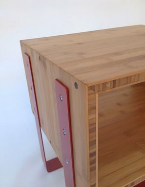 Custom Made Open Bedside Tables - Mid Century Modern Inspired In Splash Of Red In Caramelized Bamboo