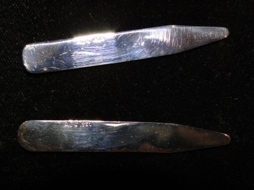 Custom Made Polished Sterling Silver Collar Stays 2.5