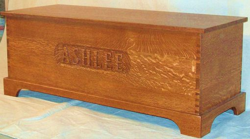 Custom Made Hand Carved Blanket Trunk