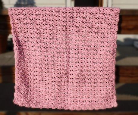 Custom Made Crochet Baby Blanket - Pink Shell Pattern Baby Afghan Custom Made