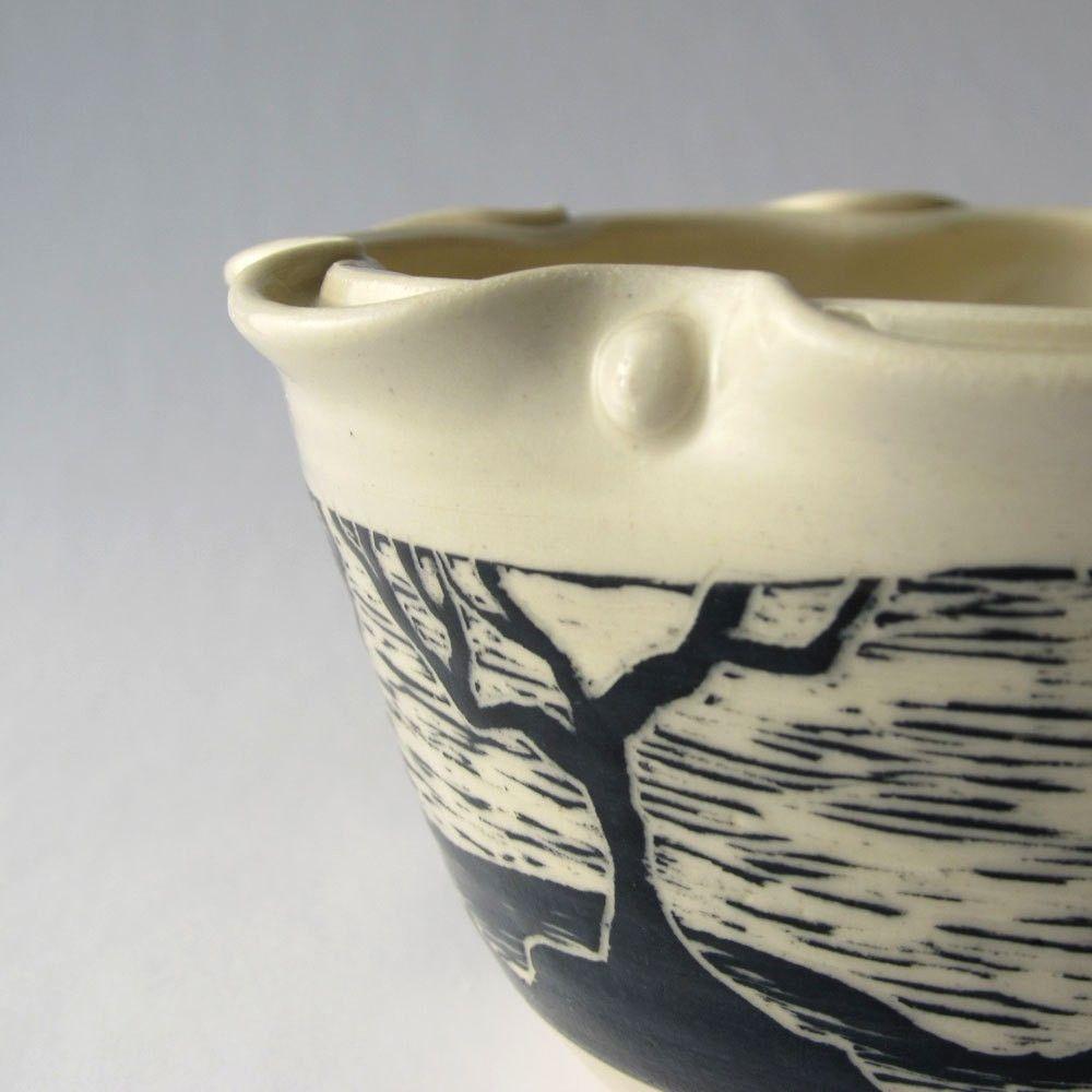 Hand Crafted Handmade Ceramic Ruffled Edge Tree Bowl By