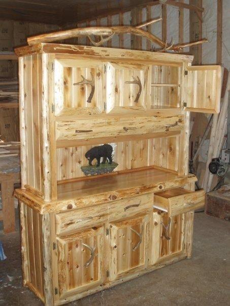 Hand Crafted Rustic Hutch Buffett Northern White Cedar