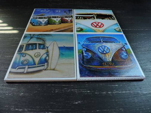 Custom Made Vw Bus Beach Theme Ceramic Coasters