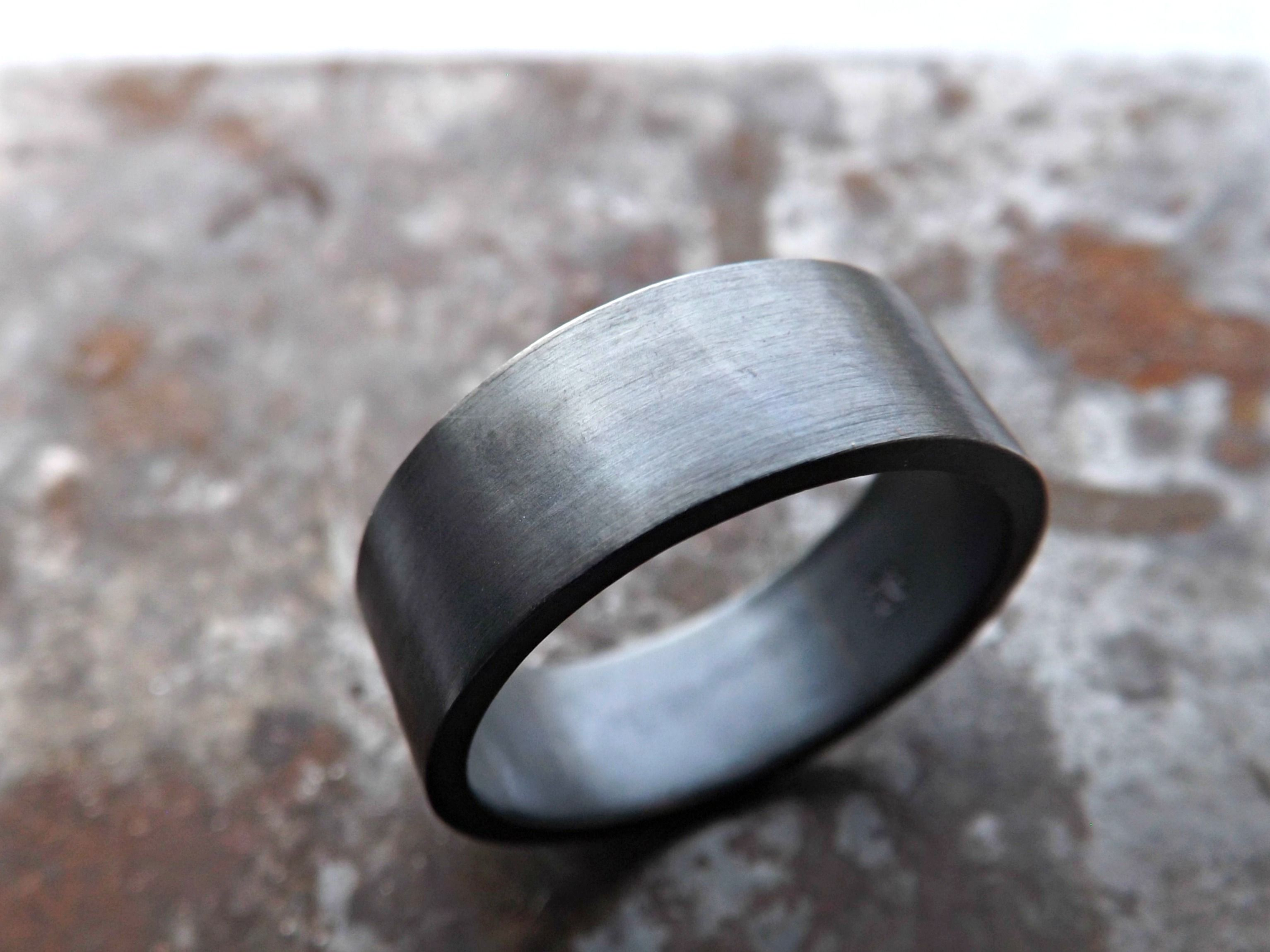 Mens Wedding Rings Black. Palladium Mm Hammered Band With Coin Edge ...