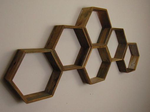 Custom Made Reclaimed Honeycomb Hexagon Geometric Shelves, Nursery Shelves, Hexagon Shelf, Texas Weathed Wood