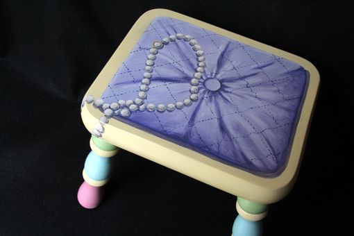 Custom Made Hand Painted Girl's Trompe L'Oeil Footstool