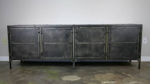 Custom Made Media Console/Credenza All Steel (Reclaimed Wood Avail) Urban Loft Décor Metal Sideboard, Tv Stand